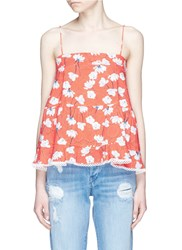 Nicholas Floral Print Tiered Ruffle Cotton Camisole Multi Colour Red