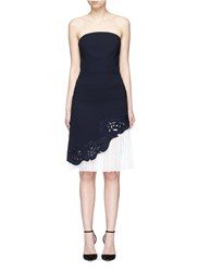 Comme Moi Lace Underlay Cutwork Embroidery Crepe Strapless Dress Blue