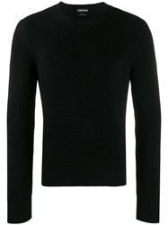 Tom Ford Ribbed Crew Neck Sweater Black
