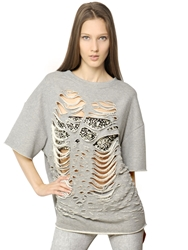 Jay Ahr Destroyed Cut Outs Cotton Fleece Top Grey