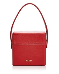 Mateo Catherine Mini Saffiano Leather Box Bag Red