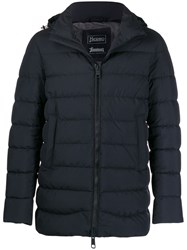 Herno Hooded Puffer Jacket Blue