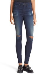 Rag And Bone Women's Jean High Rise Ripped Skinny Jeans
