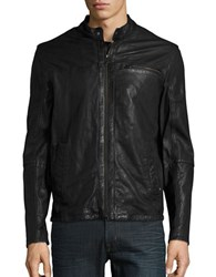 Cole Haan Leather Moto Jacket Black