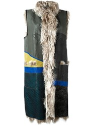 Maison Martin Margiela Patchwork Sleeveless Fur Coat Multicolour