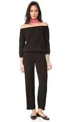 Monrow Off Shoulder Blouson Jumpsuit Black