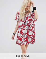 Reclaimed Vintage Mini Dress With Ruffle In Floral Red