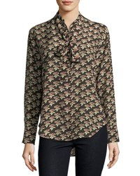 Mih Jeans Twigs Floral Print Button Front Silk Shirt Multi Pattern