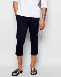 Asos Skinny Chinos In Super Cropped Length In Navy