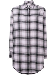 Each X Other Oversized Soft Washed Flannel Shirt Pink And Purple