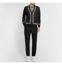 Alexander Mcqueen Leopard Intarsia Wool Silk And Cashmere Blend Cardigan Black