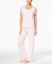 Flora Nikrooz By Rylie Lace Sleeve Knit Pajama Set Ballet Pink