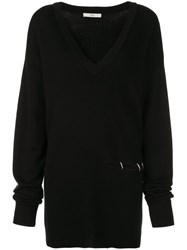 Tibi V Neck Slit Detail Sweater Black