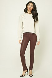 Forever 21 Faux Leather Skinny Jeans Burgundy