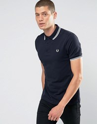 Fred Perry Slim Fit Polo With Twin Tipped In Blue Navy