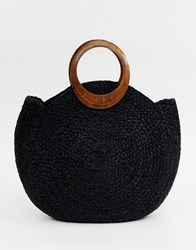 Accessorize Black Straw Circular Tote Bag With Wood Grab Handle