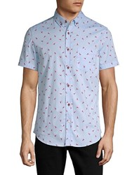 Sovereign Code Crystal Cove Cotton Button Down Shirt Blue