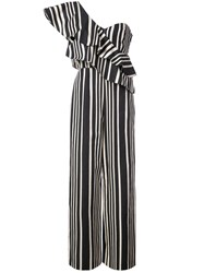 Alice Olivia Striped One Shoulder Jumpsuit Cotton Spandex Elastane Polyester Multicolour