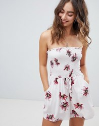 Band Of Gypsies Bandeau Floral Playsuit White
