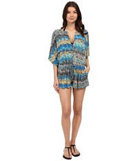 Red Carter Viper Romper Cover Up Stone Multi Women's Swimsuits One Piece Gray