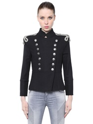 Balmain Embroidered Wool Felt Military Jacket Black