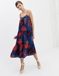Closet Strap Print Flared Dress Multi