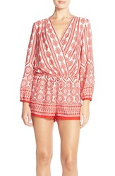 Fraiche By J Women's Print Long Sleeve Romper Red Kith