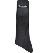 Pantherella Short Ribbed Cotton Socks Dkgy Dark Grey