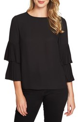 1.State Women's Pleated Sleeve Blouse Rich Black