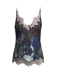 Carine Gilson Lace Trimmed Silk Satin Camisole Navy Multi