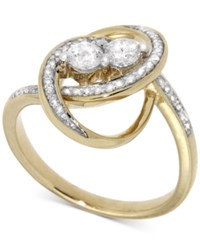 Macy's Diamond Two Stone Oval Ring 1 2 Ct. T.W. In 14K Gold Yellow Gold