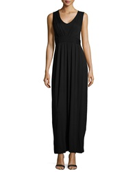 Neiman Marcus Braided Waist Sleeveless Maxi Dress Black