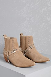 Forever 21 Y.R.U. Studded Suede Booties Tan
