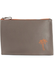 Tomas Maier 'Portatutto' Palm Tree Clutch Grey