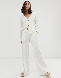 Native Youth Wide Leg Trousers With Turn Up Co Cream