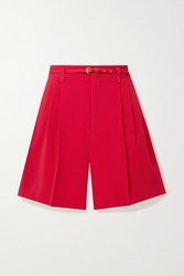 Red Valentino Redvalentino Belted Pleated Crepe Shorts Crimson