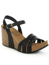 Daniel Beverlywood Strappy High Wedge Sandals Black
