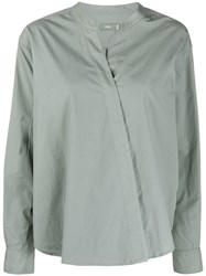 Closed Wrap Front Shirt Grey
