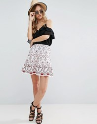 Asos Mini Skirt With Broderie Detail White Red
