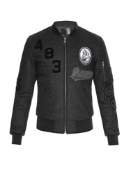 Dolce And Gabbana Patch Applique Wool Felt Bomber Jacket