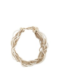 Lanvin Twisted Faux Pearl And Chain Necklace Gold