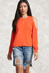 Forever 21 French Terry Open Shoulder Top Orange
