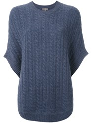 N.Peal Cable Knit Sweater Cape Blue