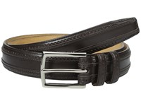 Cole Haan 30Mm Feather Edge Stitched Strap With Perforation And Overlay Detail Dark Brown Men's Belts