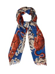 Gucci Tiger Print Scarf Blue Multi