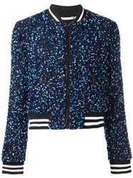 Alice Olivia Sequin Embroidery Cropped Bomber Jacket Blue