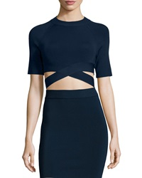Alexander Wang Criss Cross Short Sleeve Crop Top Midnight