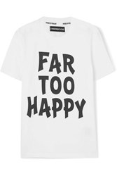 House Of Holland Far Too Happy Printed Cotton Jersey T Shirt White