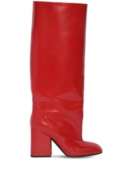 Marni 90Mm Tall Brushed Leather Boots Red