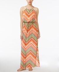 City Triangles City Studios Juniors' Printed Halter Maxi Dress Mint Coral Ivory